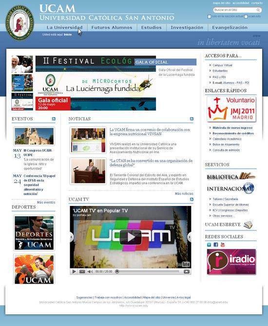 Vista de www.ucam.edu | Pagina web o Home
