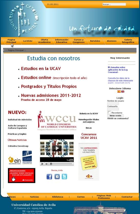 Vista de www.ucavila.es | Pagina web o home