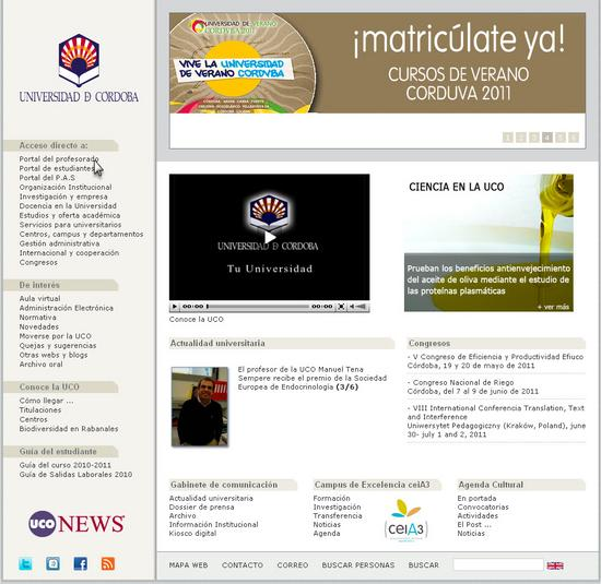 Vista de www.uco.es | Pagina web o Home
