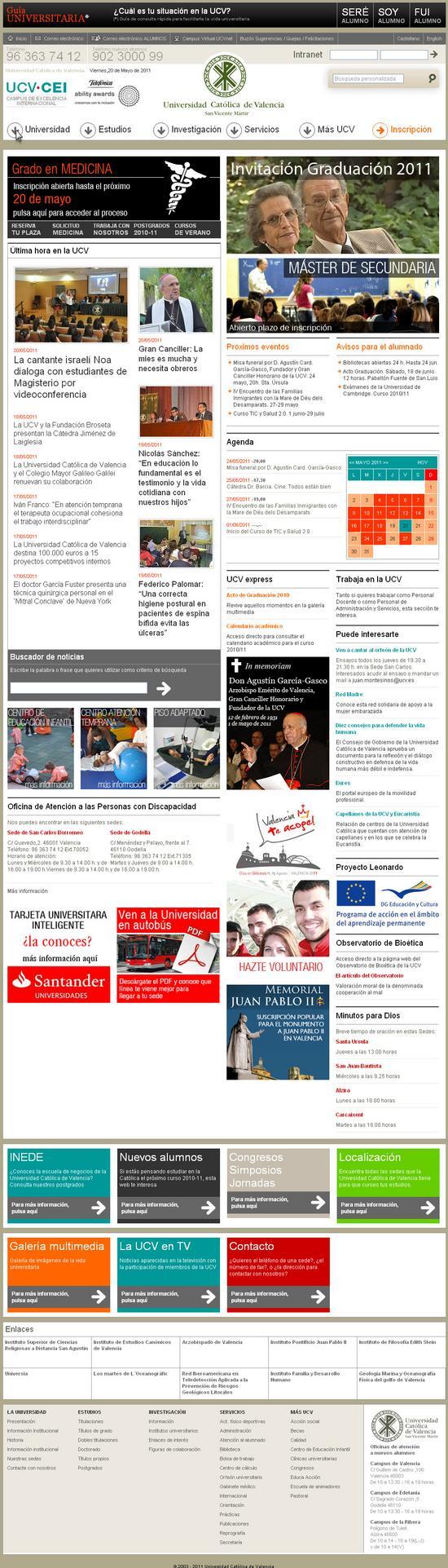 Vista de www.ucv.es | Pagina Web o Home