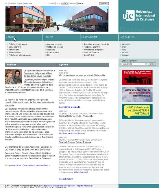 Vista de www.uic.es | Pagina Web o Home