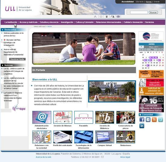 Vista de www.ull.es | Pagina Web o Home