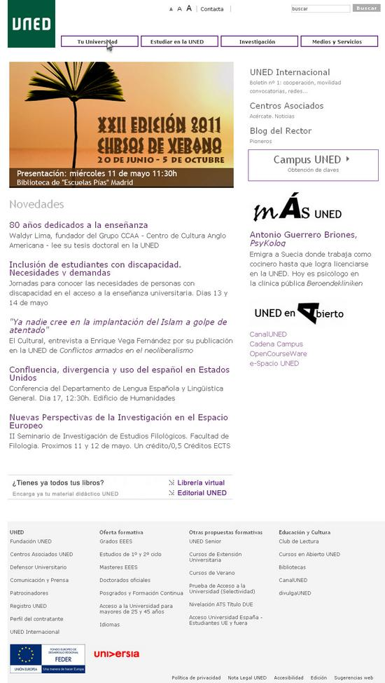 Vista de www.uned.es | Pagina web o Home