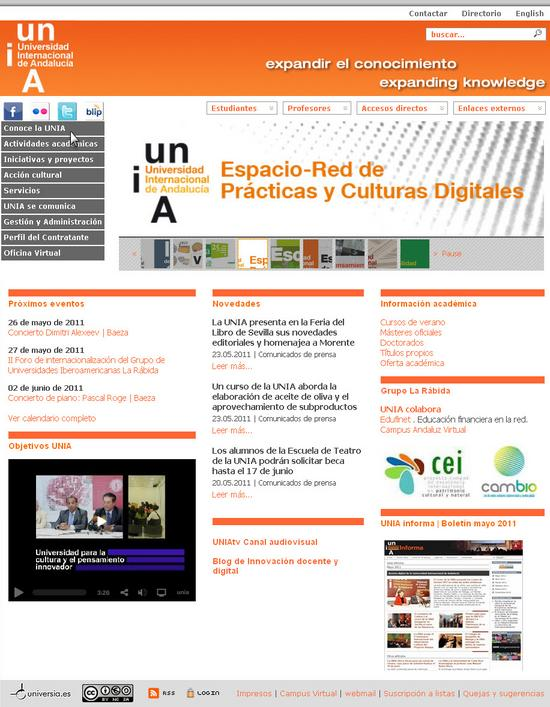 Vista de www.unia.es   Pagina Web o Home