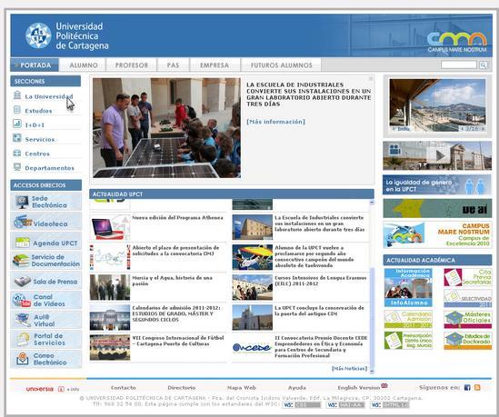 Vista de www.upct.es | Pagina Web o Home
