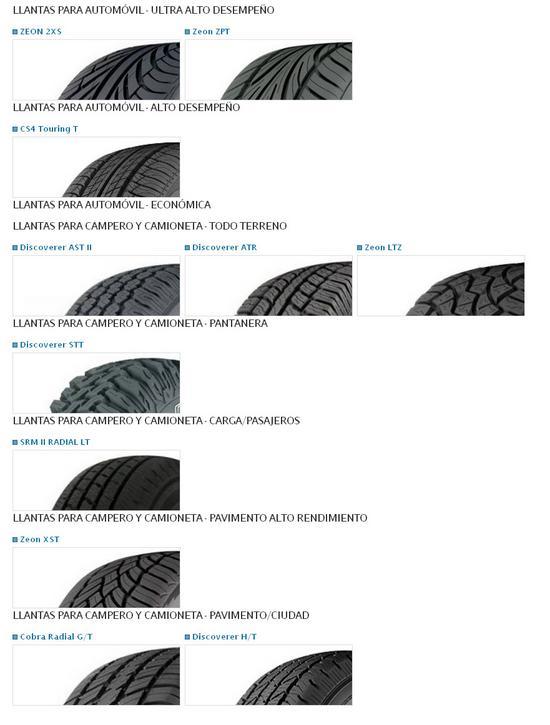 modelos de llantas Cooper Tire
