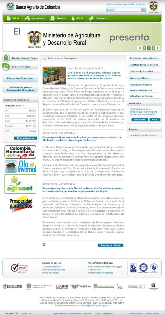 Vista de www.bancoagrario.gov.co | Pagina Web o Home