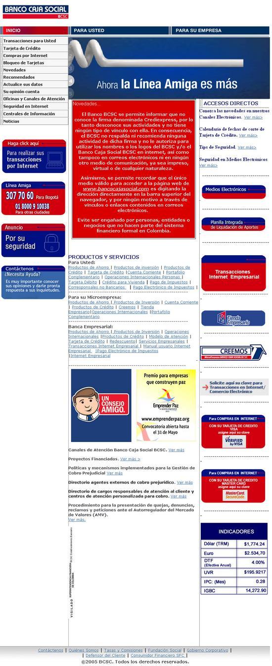 Vista de www.bancocajasocial.com.co | Pagina Web o Home
