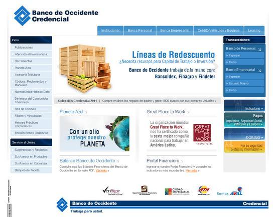 Vista de www.bancodeoccidente.com.co | Pagina Web o Home