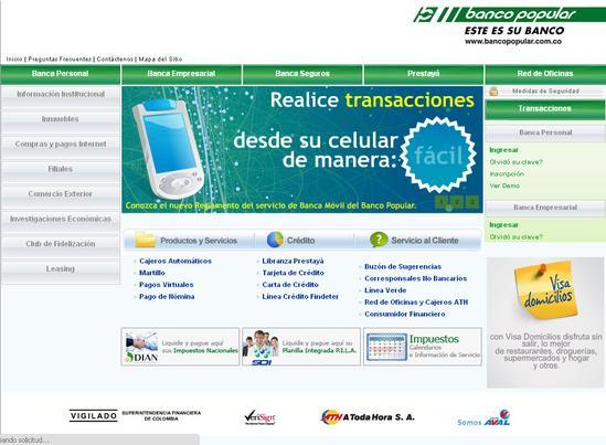 Vista de www.bancopopular.com.co | Pagina web o Home