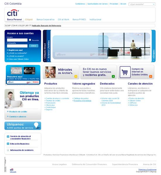 Vista de www.citibank.com.co | Pagina Web o Home