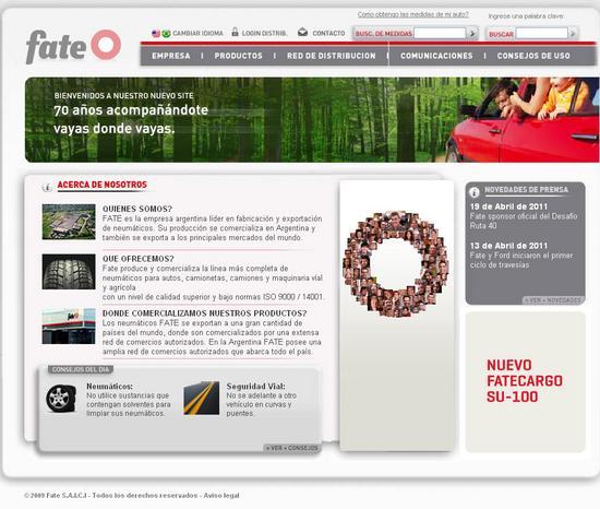 Vista de www.fate.com.ar | Pagina Web o Home