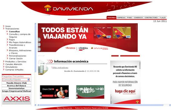 Vista de www.linea.davivienda.com | Pagina web o Home