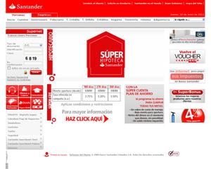 Vista de www.santander.com.co | Pagina web o Home