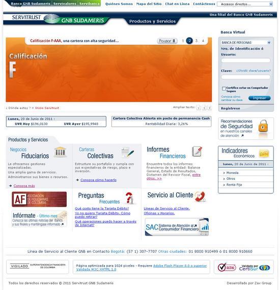 Vista de www.servitrust.gnbsudameris.com.co | Pagina web o Home