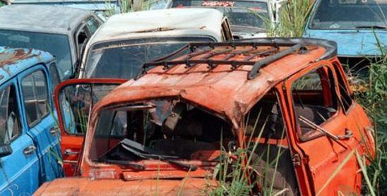 Carros abandonados, los cubre el moho y el olvido