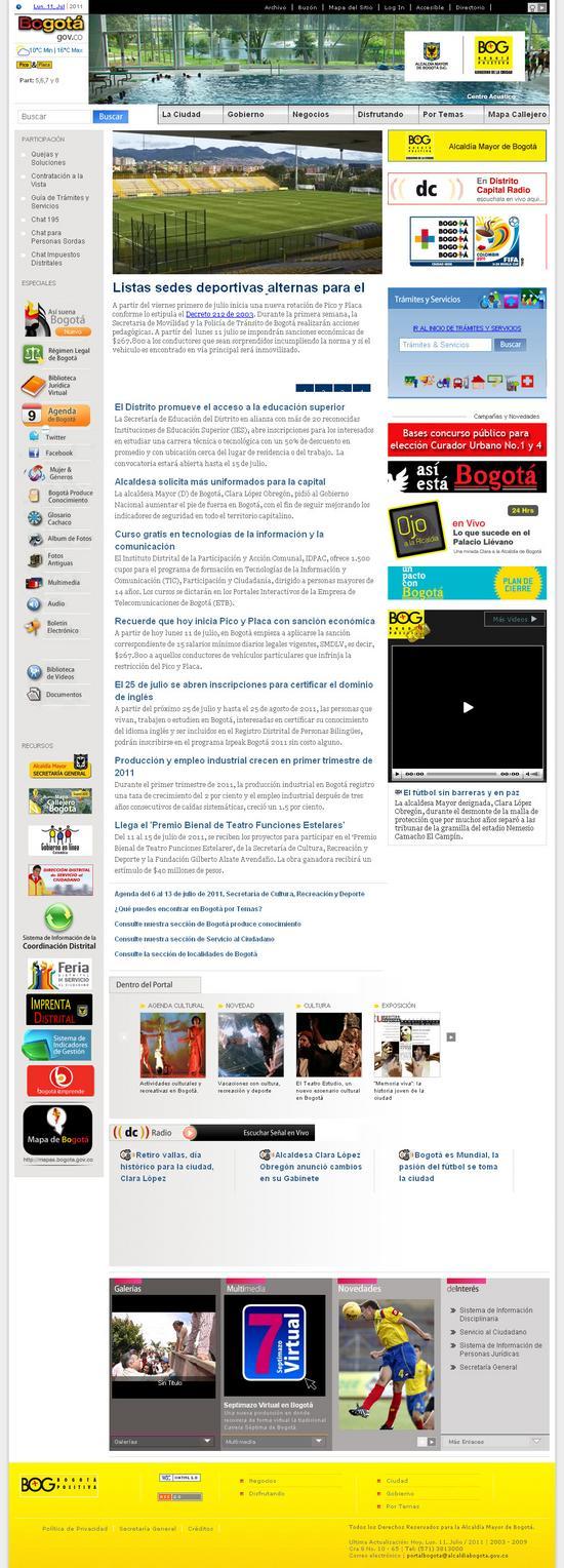 Vista de www.bogota.gov.co | Pagina Web o Home