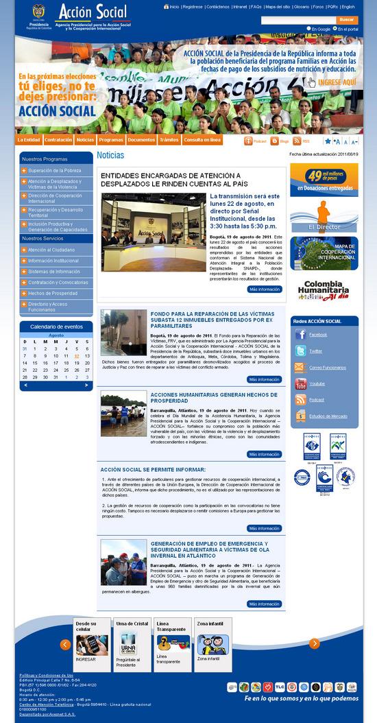 Vista de www.accionsocial.gov.co   Pagina Web o Home
