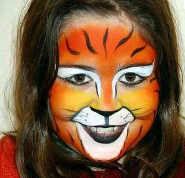 Maquillaje  para disfraces de Halloween niña  tigre