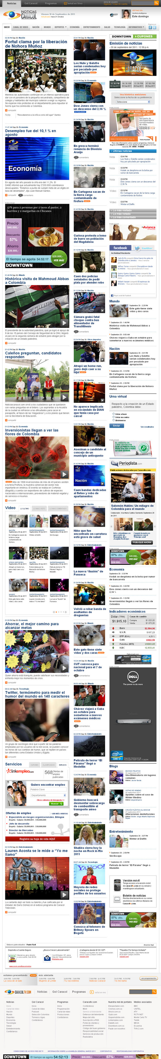 Vista de www.caracoltv.com   Pagina Web o Home
