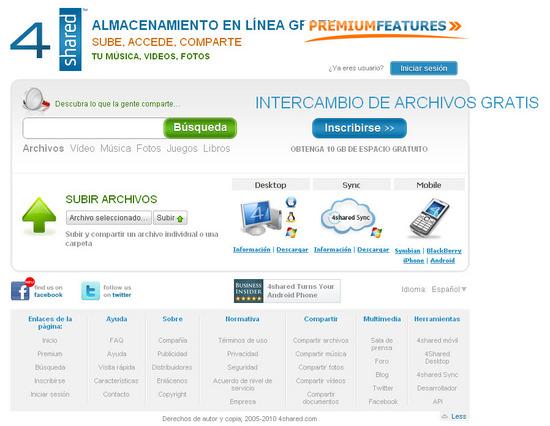 Vista de www.4shared.com | Pagina web o Home