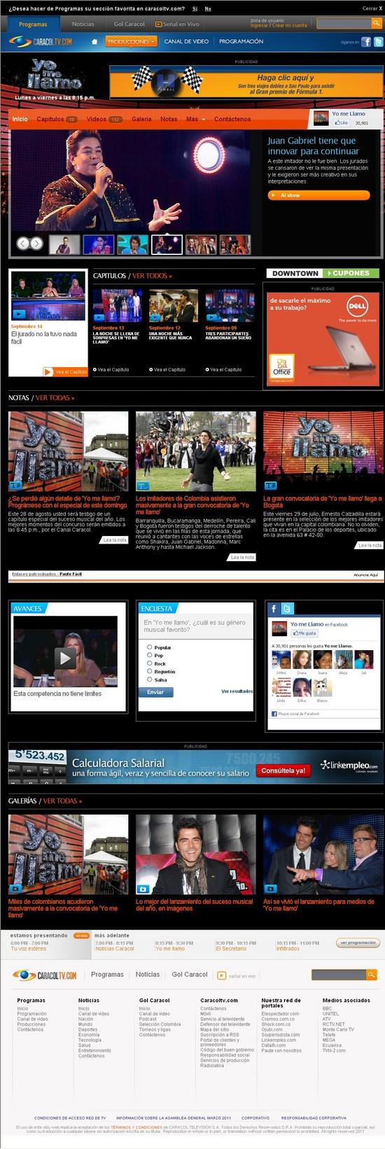 Vista de www.caracoltv.com/yomellamo | Pagina Web o Home