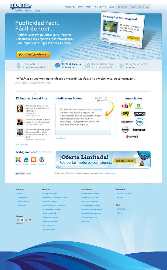Vista de www.infolinks.com   Pagina Web o Home
