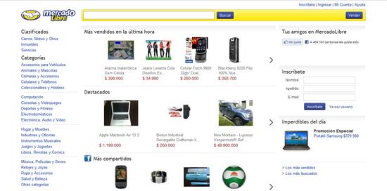 Vista de www.mercadolibre.com.co   Pagina Web o Home