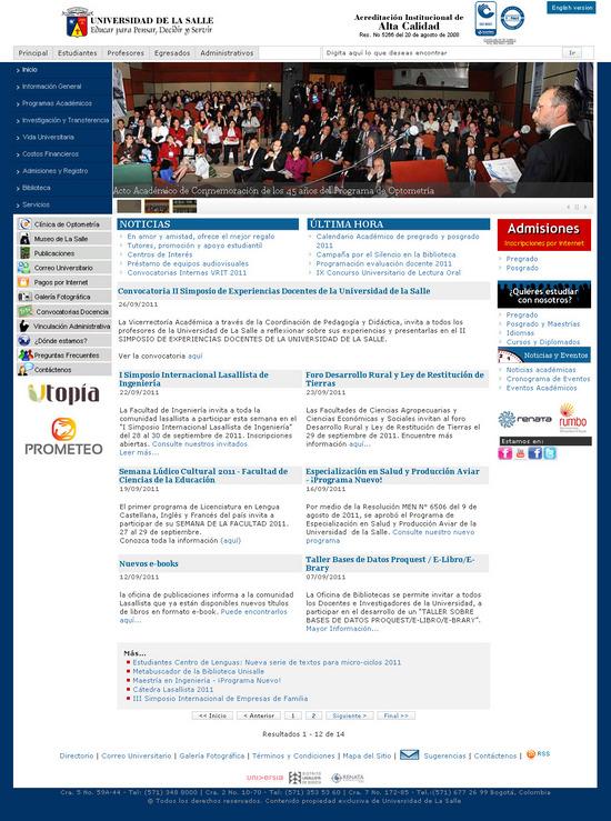 Vista de www.unisalle.lasalle.edu.co | Pagina Web o Home