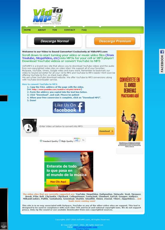 Vista de  www.vidtomp3.com | Pagina Web o Home