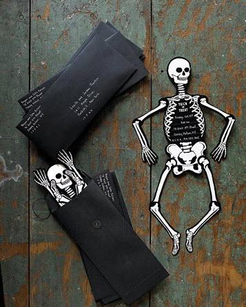 Tarjetas Halloween esqueletos