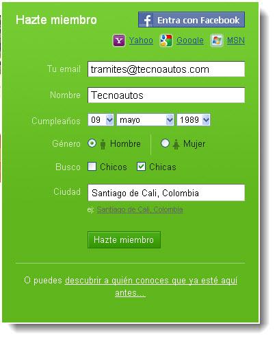 BadOo.com, registrarse 1