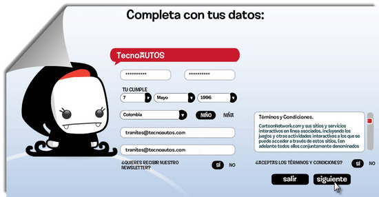 Cartoon Network.com Paso 3 para registrarse