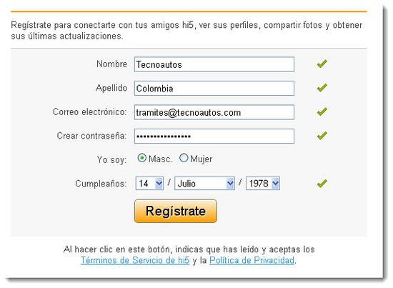 Hi5, Registrase paso 1
