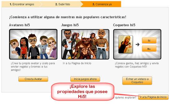 Hi5, Registrase paso 4