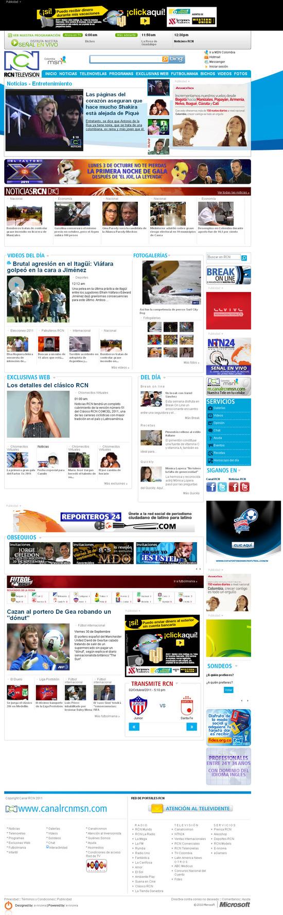 Vista de www.canalrcnmsn.com | Pagina Web o Home