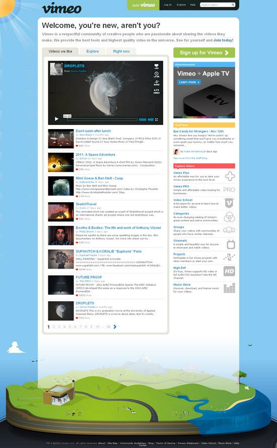 Vista de www.vimeo.com | Pagina Web o Home
