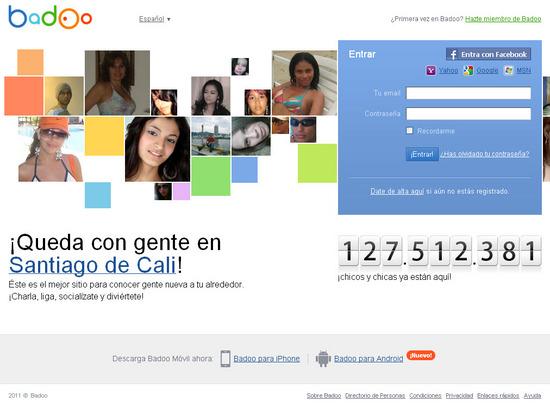 Vista de www.badoo.com   Pagina Web o Home