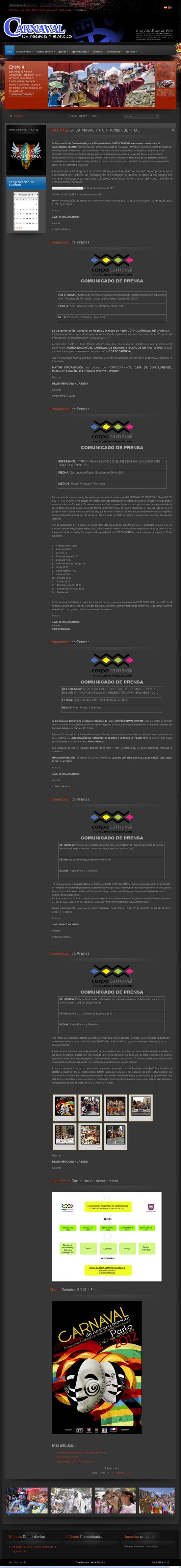 Vista de www.carnavaldepasto.org | Pagina Web o Home