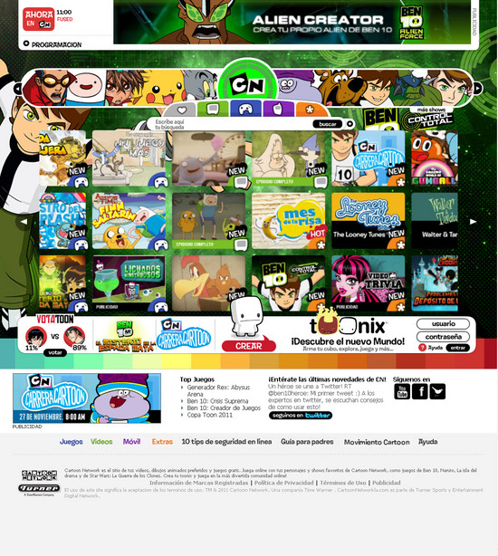 vista de www.cartoonnetwork.com.co | Pagina web o Home