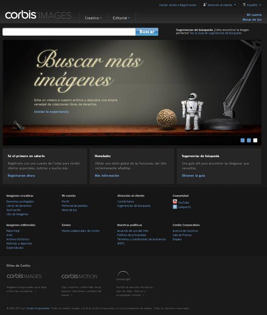 Vista de www.corbisimages.com | Pagina Web o Home