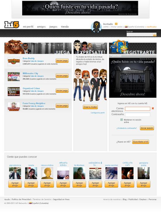 Vista de www.hi5.com | Pagina Web o Home