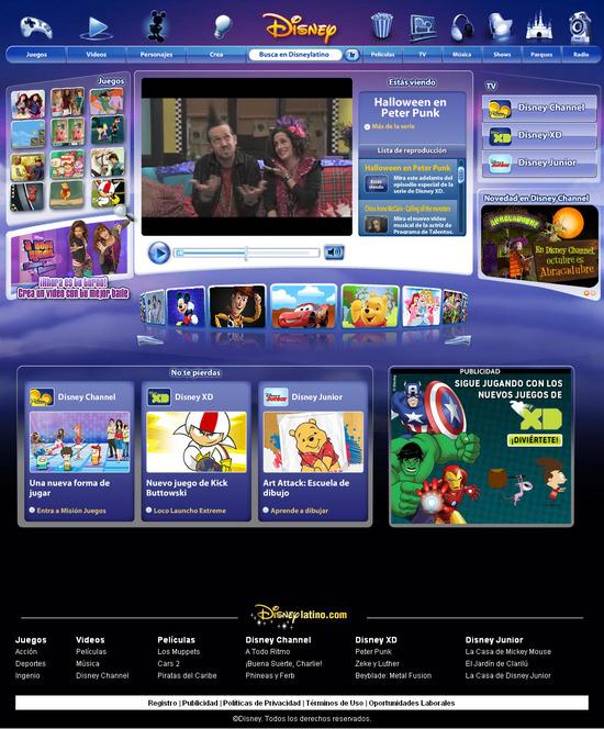 Vista de  www.home.disneylatino.com | Pagina Web o Home