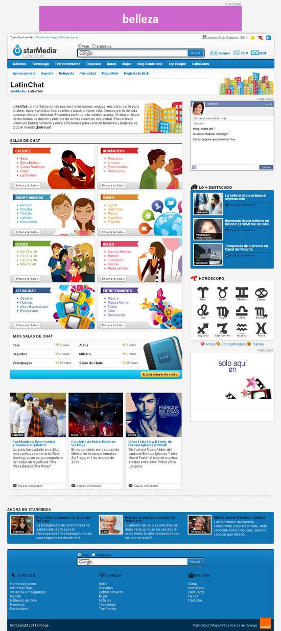 Vista de www.latinchat.com | Pagina Web o Home