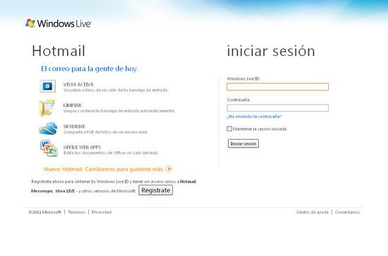 Vista de www.login.live.com | Pagina Web o Home
