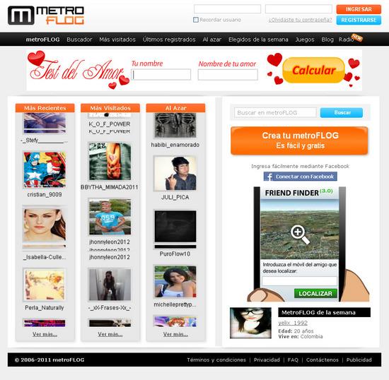 Vista de www.metroflog.com | Pagina Web o Home