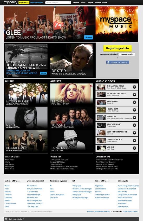 Vista de www.myspace.com | Pagina web o Home