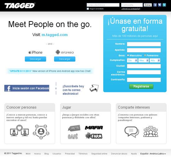 Vista de www.tagged.com | Pagina web o Home