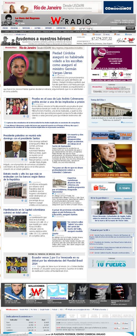 Vista de  www.wradio.com.co | Pagina Web o Home