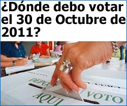 Consulte donde votar el 30 de Octubre de 2011 en Colombia